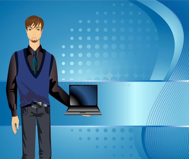 Uomo con un computer portatile. illustrazione di stock