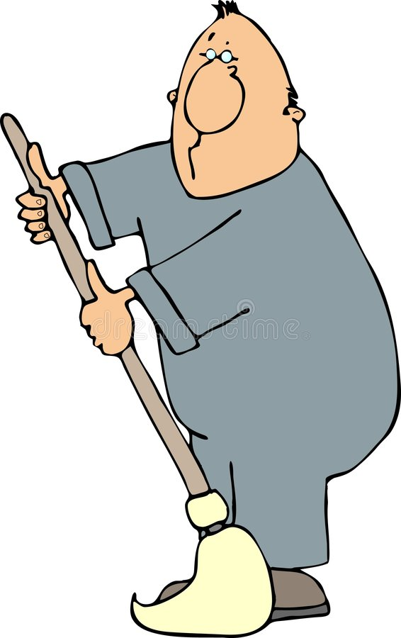 Uomo con un mop illustrazione di stock