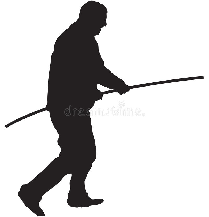 uomo con un palo fotografia stock libera da diritti