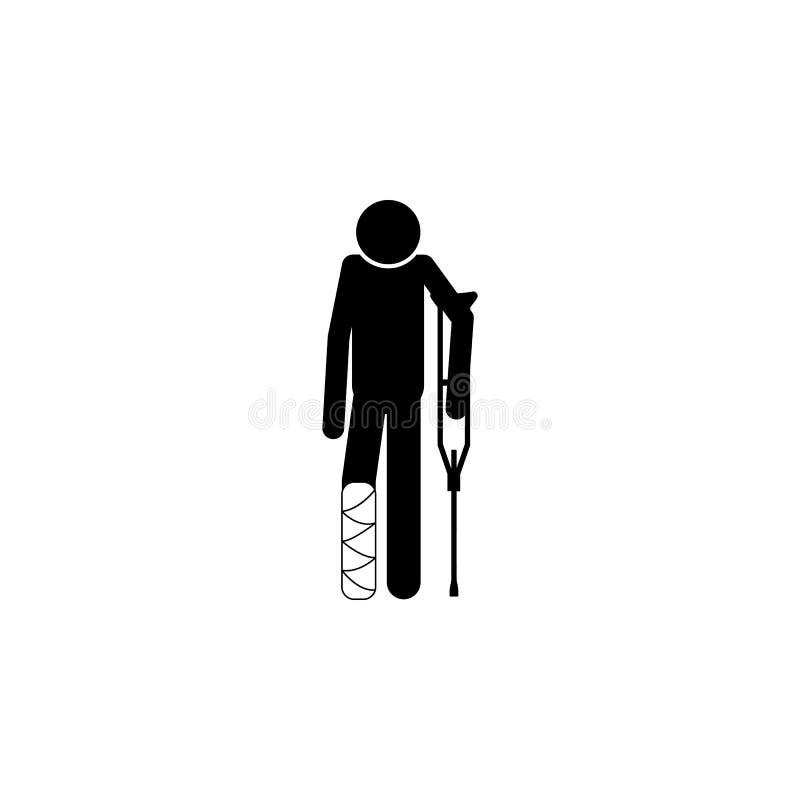 Uomo con una gruccia e un'icona della gamba rotta Elementi dei pazienti nell'icona dell'ospedale Progettazione grafica di qualità royalty illustrazione gratis