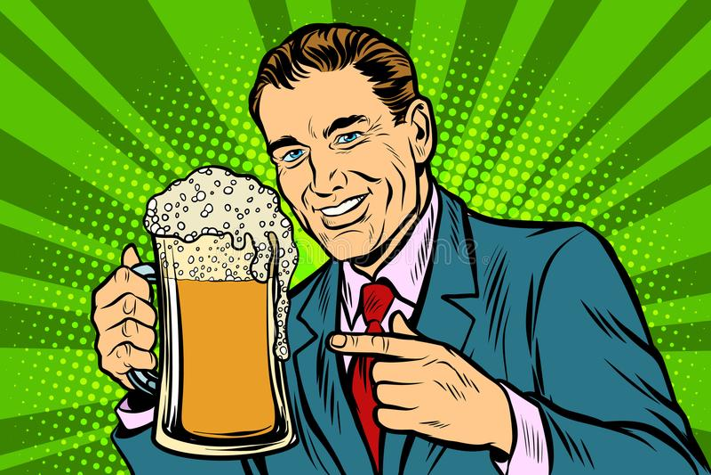 Uomo con una tazza della schiuma della birra illustrazione di stock
