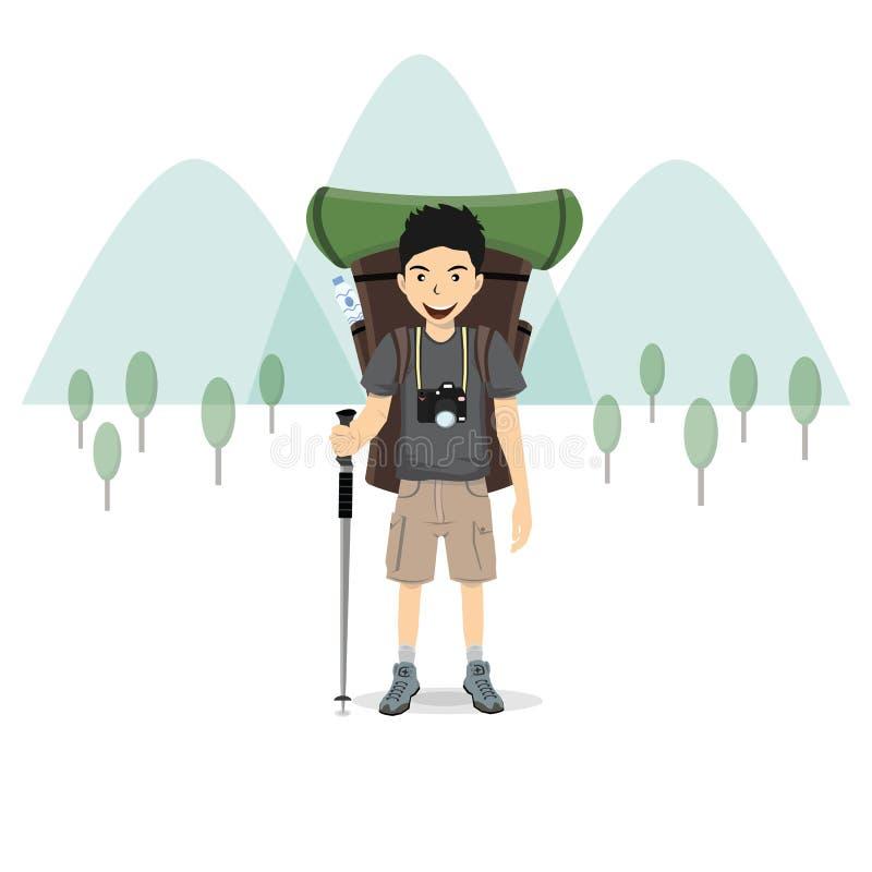 Uomo con uno zaino e una montagna, illustrazione di vettore illustrazione di stock