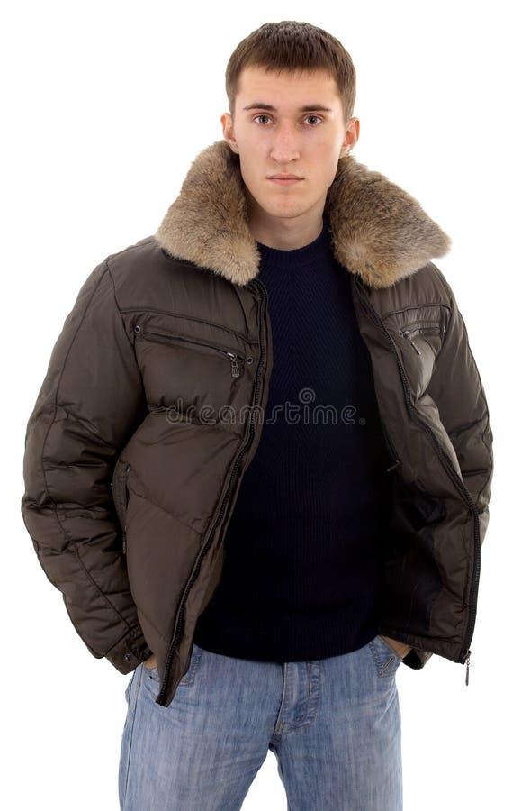 Uomo con vestiti caldi immagini stock