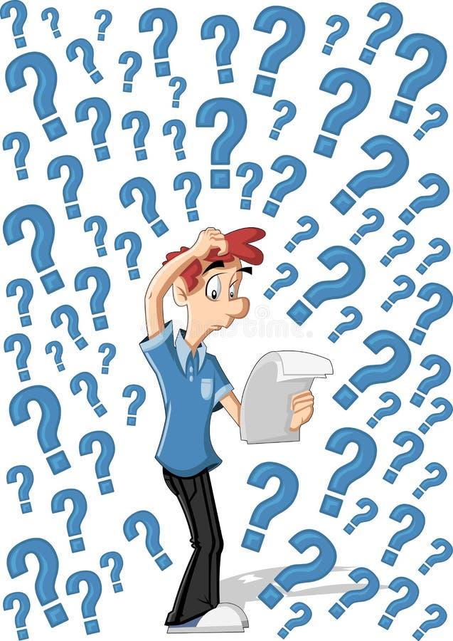 Uomo confuso del fumetto illustrazione di stock