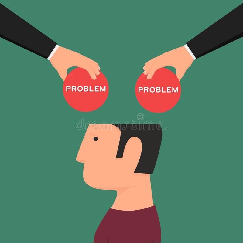 Uomo confuso Emicrania Pensando ai problemi illustrazione di stock