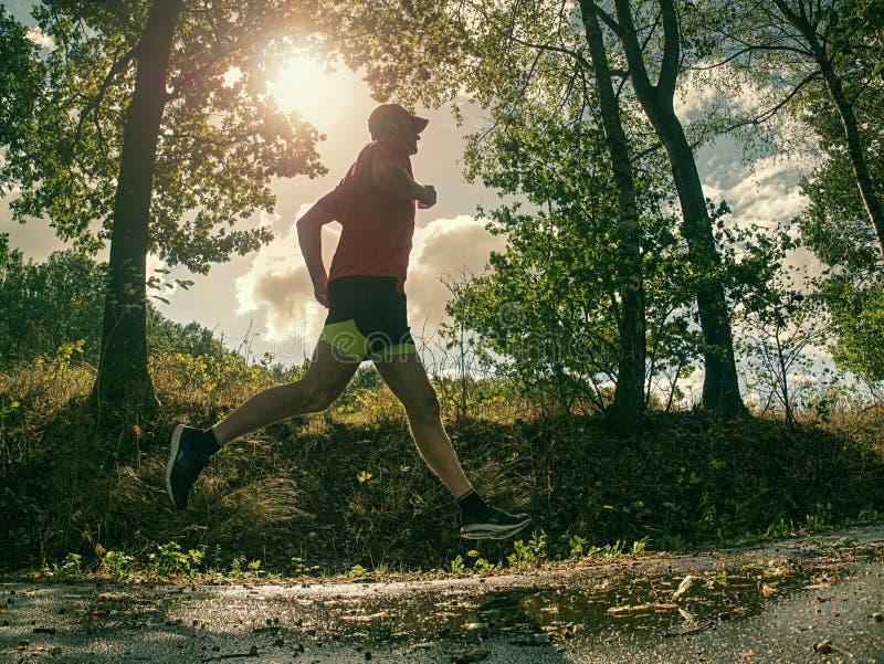 Uomo corrente dell'atleta Corridore maschio che sprinta durante l'addestramento immagine stock