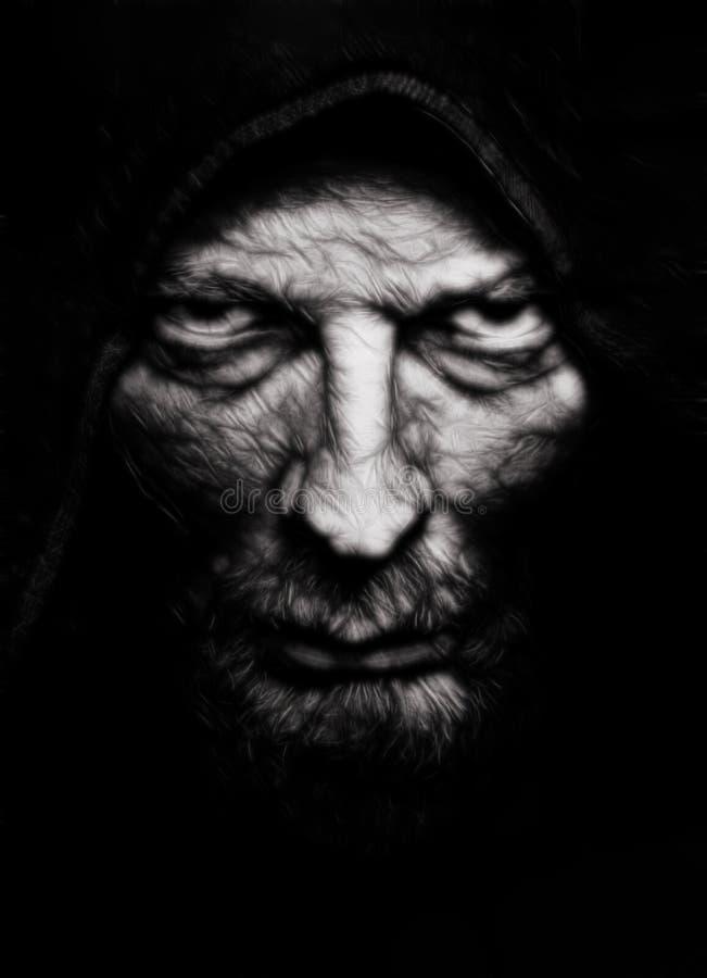 Uomo corrugato malvagità spaventosa fotografia stock libera da diritti