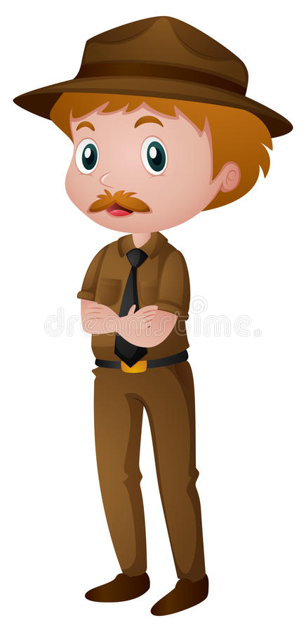 Uomo in costume del guardia forestale di parco illustrazione di stock