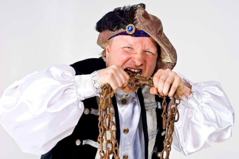 Uomo in costume medioevale fotografie stock