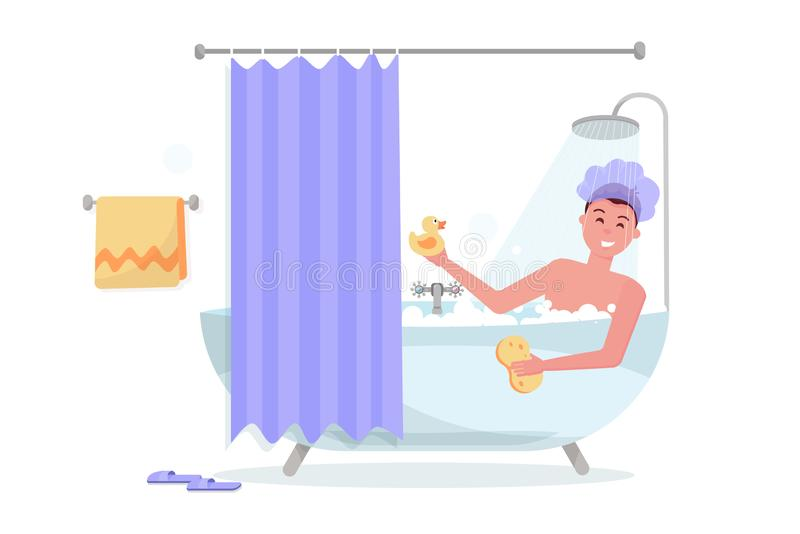Uomo in cuffia da doccia nella doccia Tipo divertente felice che prende bagno in vasca della bolla, rilassandosi con l'anatra e l illustrazione di stock
