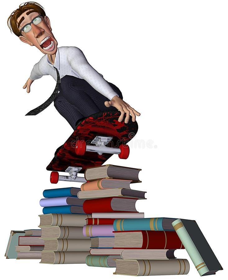 uomo d'affari 3d che salta i libri con un pattino illustrazione vettoriale