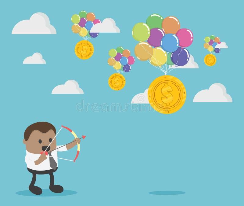 Uomo d'affari africano che punta su obiettivo con l'arco e la freccia illustrazione di stock