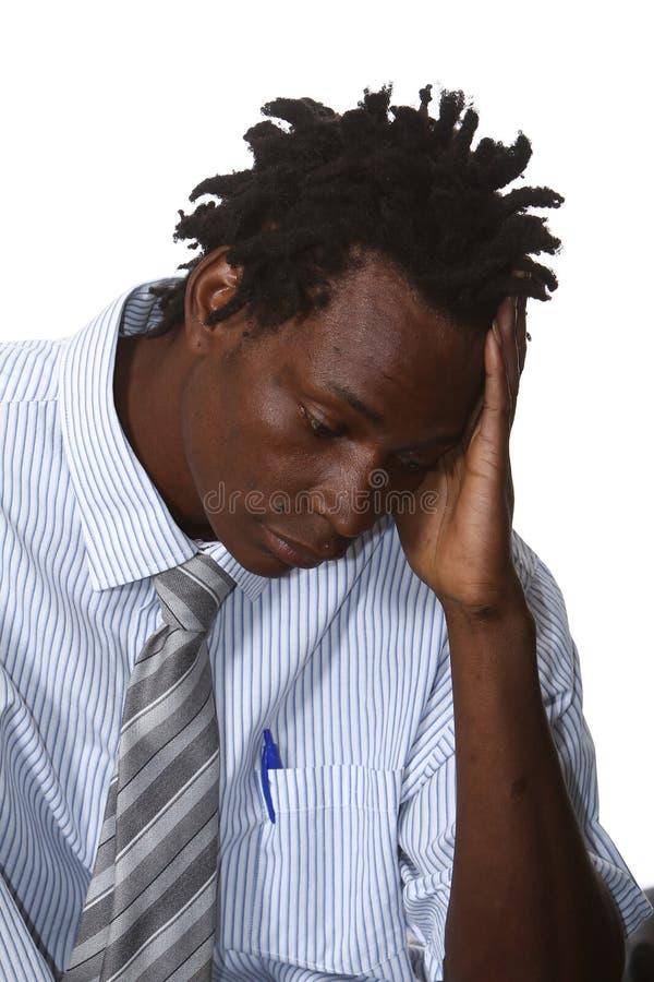 Uomo d'affari africano preoccupato fotografie stock