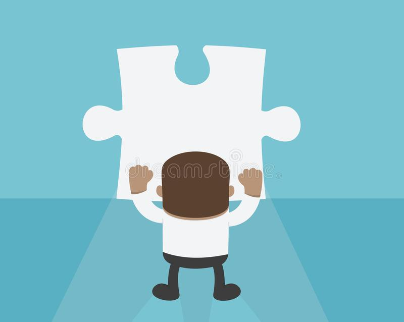 Uomo d'affari africano Standing davanti al puzzle in bianco Wal royalty illustrazione gratis