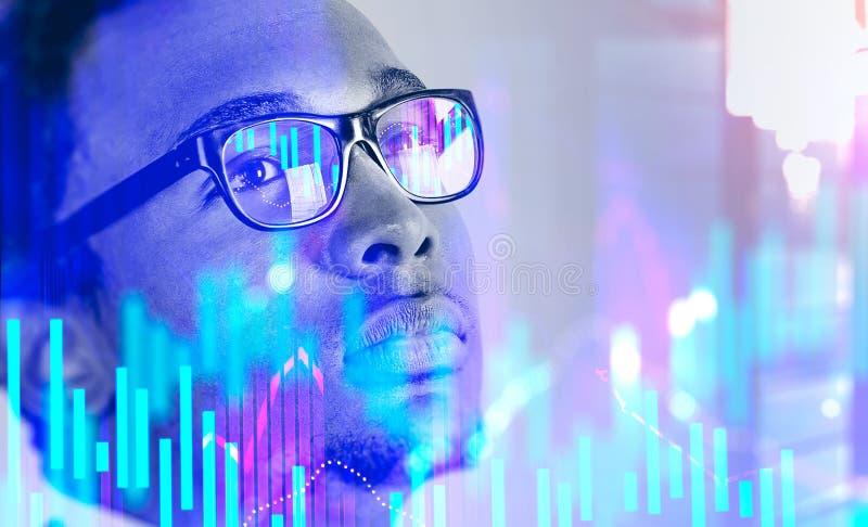Uomo d'affari afroamericano in città, grafico illustrazione di stock