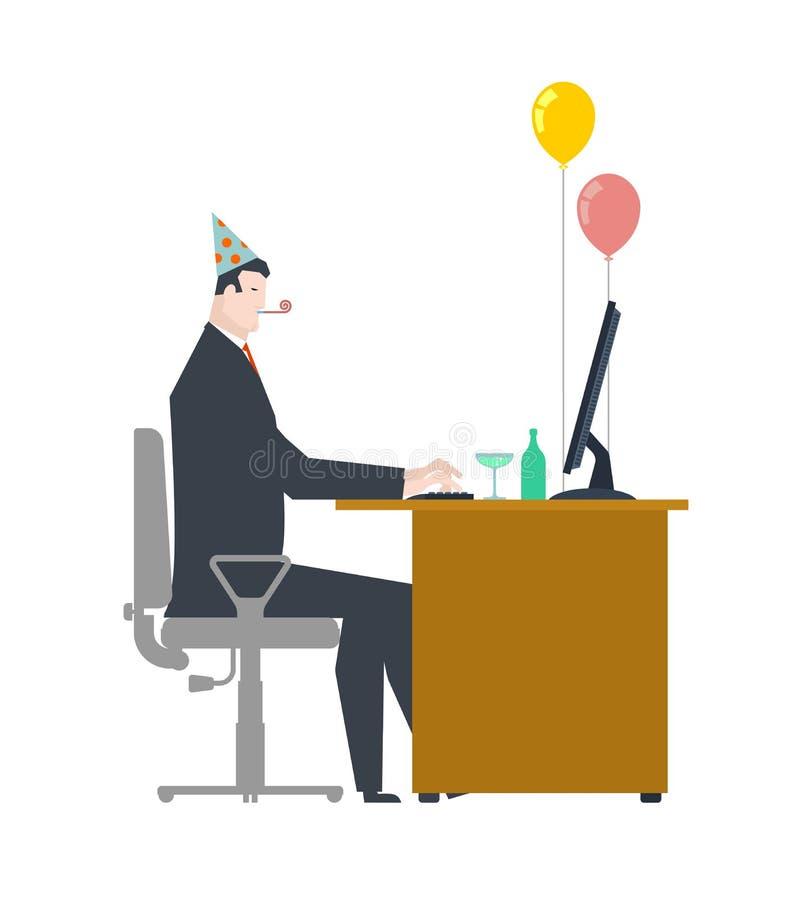 Uomo d'affari al partito Cappuccio celebratorio e corno del partito impulso e illustrazione di stock