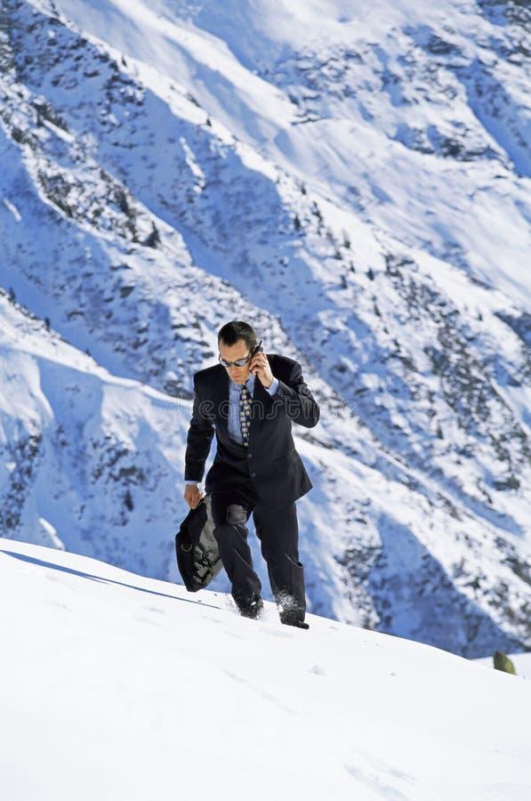 Uomo d'affari all'aperto sulla montagna nevosa per mezzo del telefono fotografia stock libera da diritti