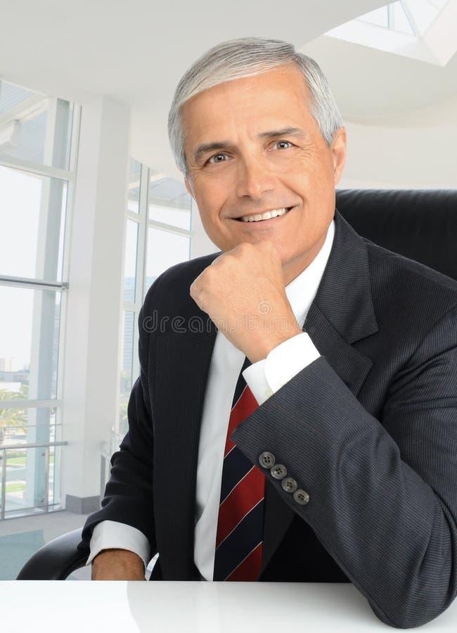 Uomo d'affari alla mano dello scrittorio su Chin fotografie stock