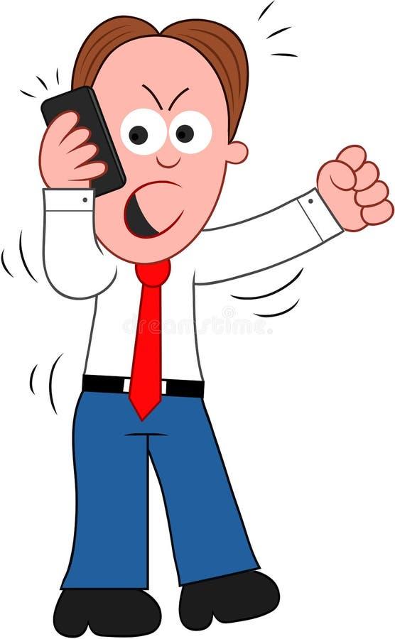 Uomo d'affari Angry del fumetto sul telefono illustrazione di stock