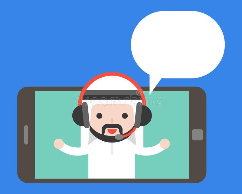 Uomo d'affari arabo sveglio con la cuffia sull'SCR dello smartphone o della compressa illustrazione vettoriale