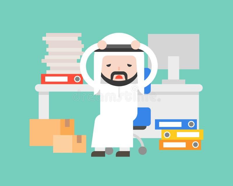 Uomo d'affari arabo sveglio sollecitato e burnout, situazione aziendale royalty illustrazione gratis