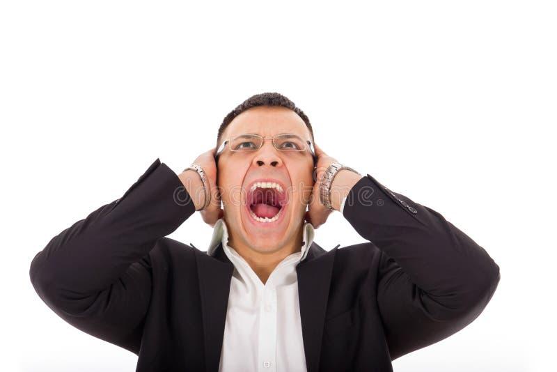 Uomo d'affari arrabbiato che grida fotografia stock libera da diritti