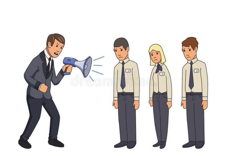 Uomo d'affari arrabbiato con il megafono che grida ai subalterni Illustrazione piana di vettore Isolato su priorità bassa bianca illustrazione di stock
