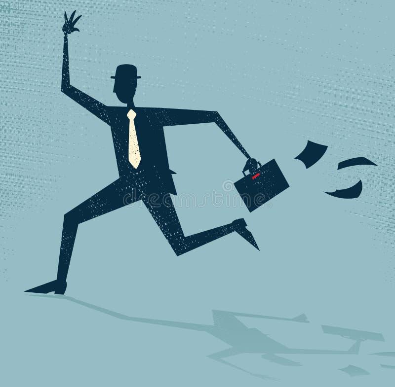 Uomo d'affari astratto Running Late. royalty illustrazione gratis