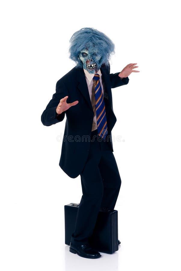 Uomo d'affari avido di Halloween fotografia stock libera da diritti