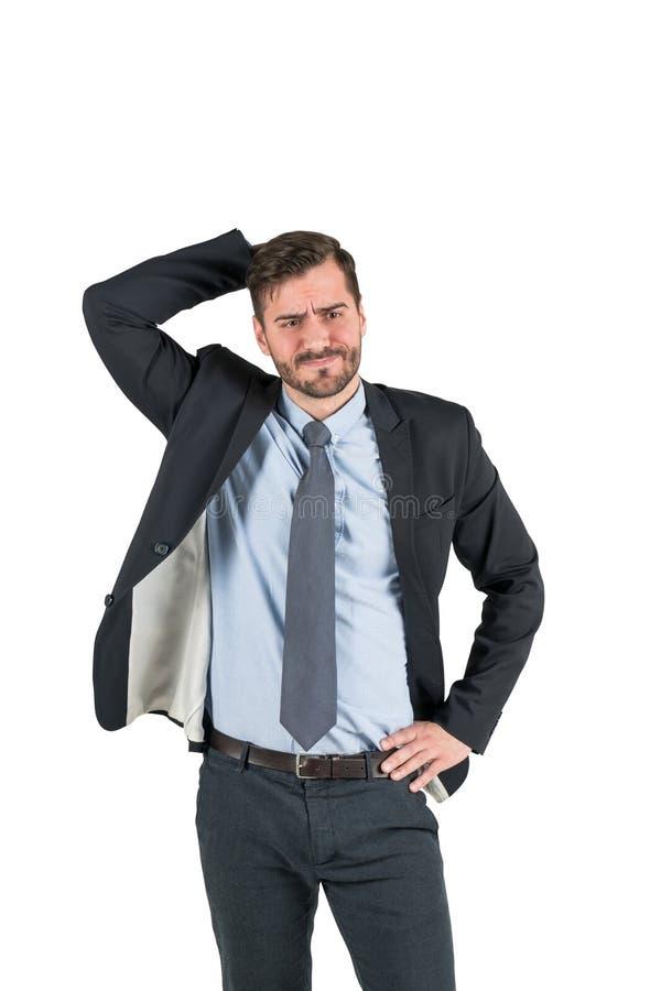 Uomo d'affari barbuto sconcertante, isolato immagini stock