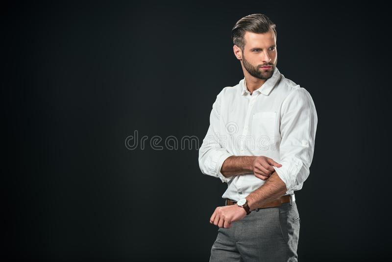 uomo d'affari bello in camicia bianca, fotografie stock