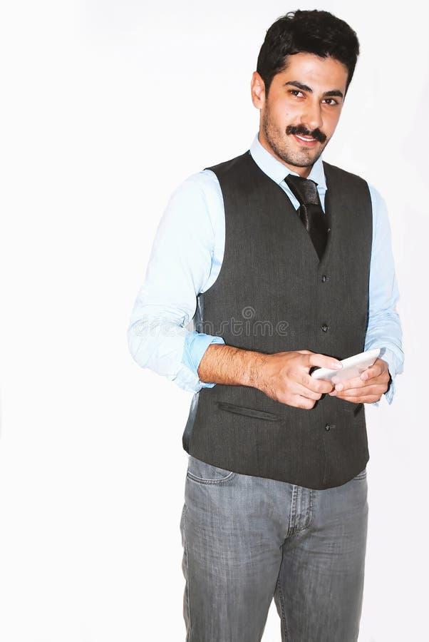 Uomo d'affari bello dei baffi alla presentazione fotografia stock libera da diritti