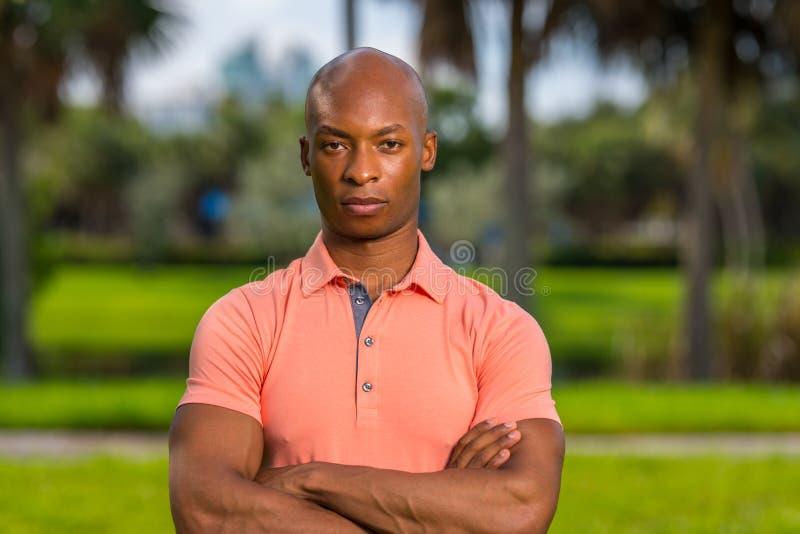 Uomo d'affari bello del ritratto giovane che posa all'aperto in una camicia di polo rosa Equipaggia le armi sono attraversati fotografia stock