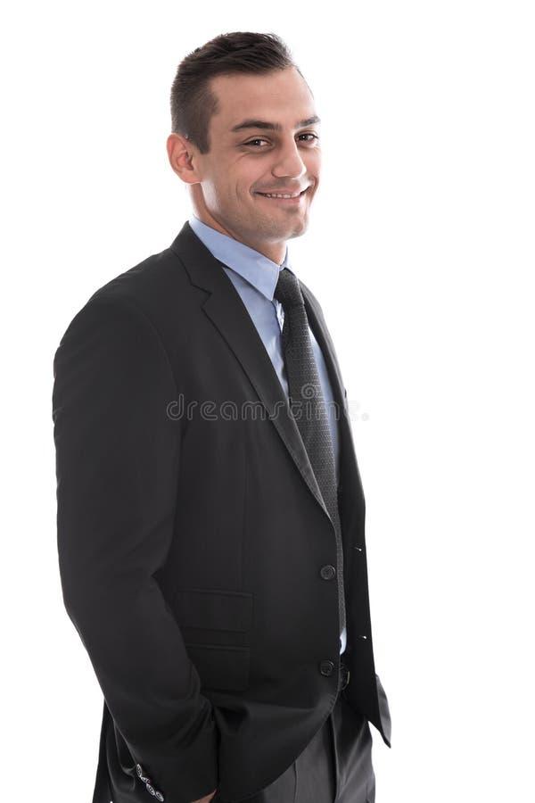 Uomo d'affari bello felice isolato in vestito. immagini stock libere da diritti