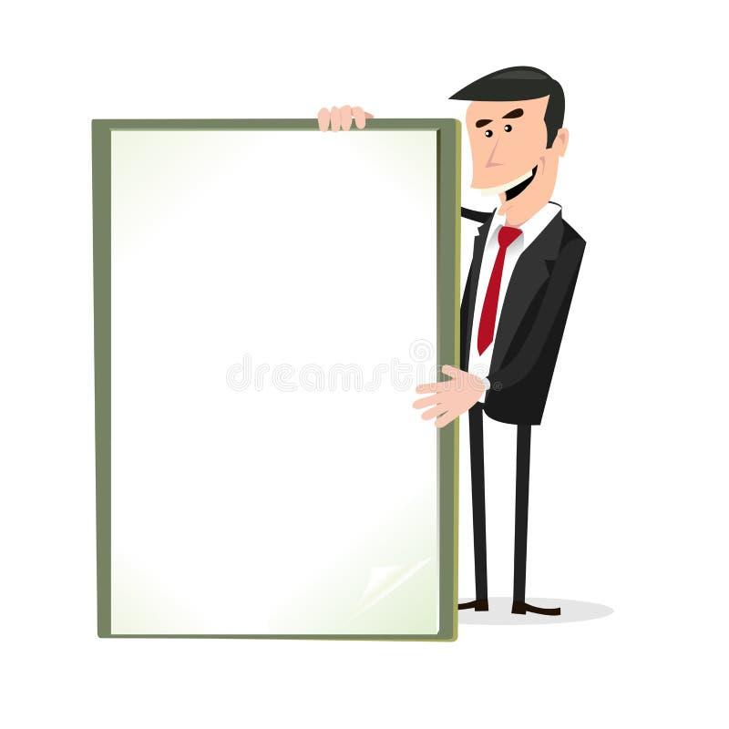 Uomo d'affari bianco del fumetto che tiene un segno in bianco illustrazione di stock