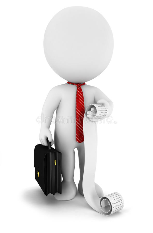 uomo d'affari bianco della gente 3d con una lista illustrazione di stock