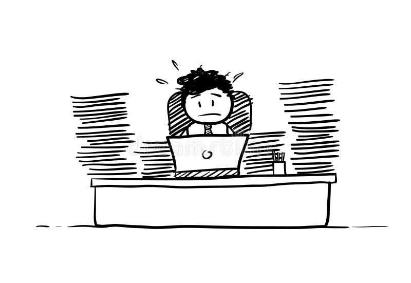 Uomo d'affari Busy Doing Paperwork illustrazione di stock