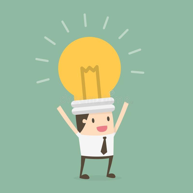 Uomo d'affari capo della lampadina royalty illustrazione gratis