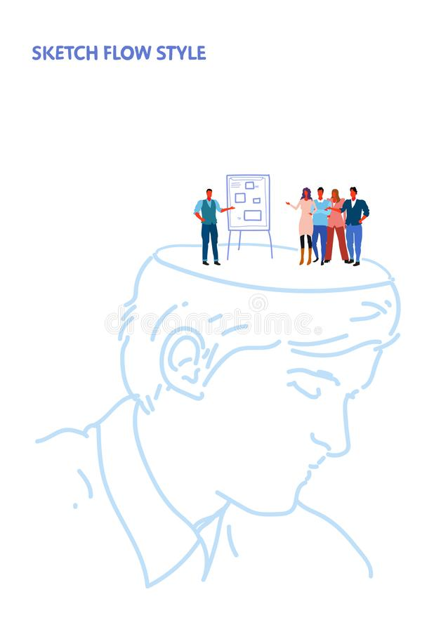 Uomo d'affari capo umano aperto che fa presentazione di affari sul grafico di vibrazione al concetto creativo di idea del gruppo  illustrazione di stock