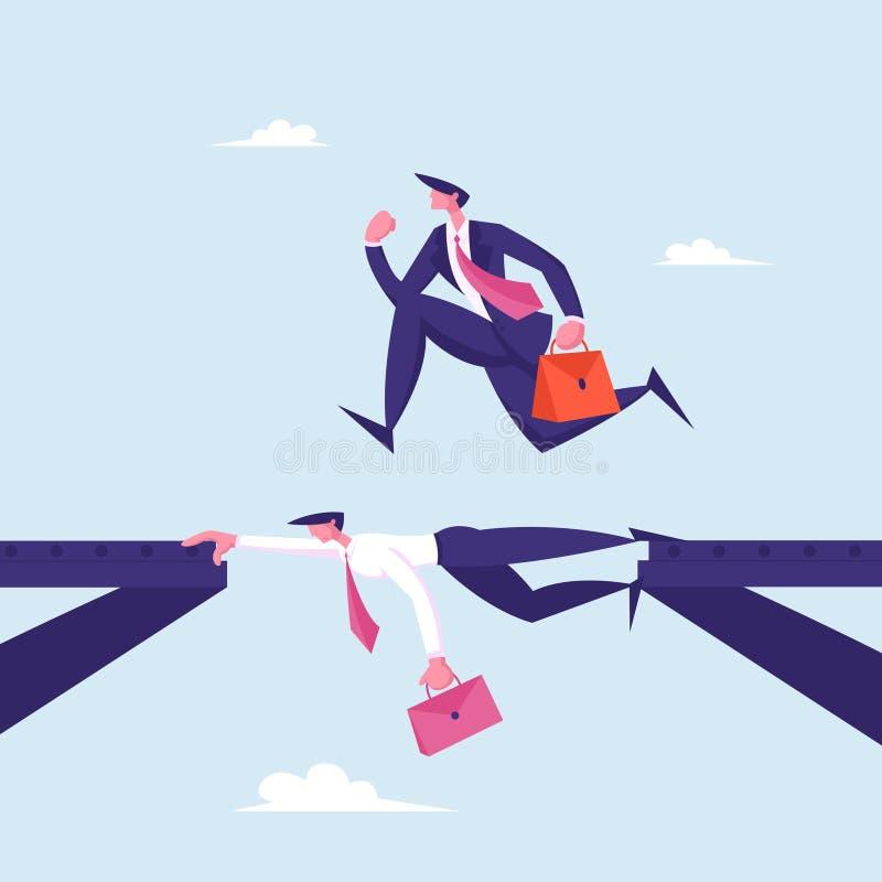 Uomo d'affari Careerista, climber sociale con un breve caso che corre sopra il capo della Compagnia come su Bridge illustrazione vettoriale