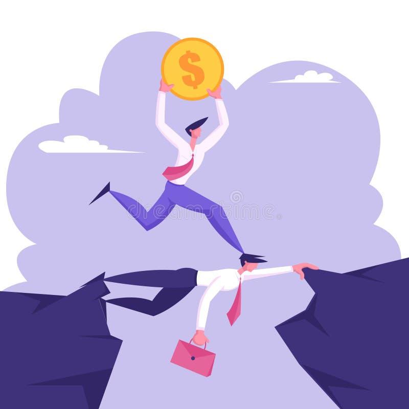 Uomo d'affari carrierista, climber sociale con monete d'oro in dollari corse sopra la testa del collega d'affari, idea creativa royalty illustrazione gratis
