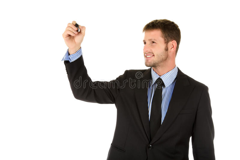 Uomo d'affari caucasico attraente, indicatore fotografia stock
