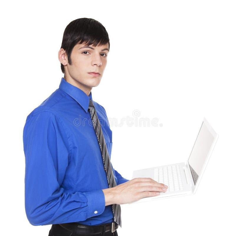 Uomo d'affari caucasico con il computer portatile fotografia stock libera da diritti