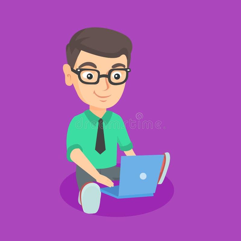 Uomo d'affari caucasico del bambino che lavora ad un computer portatile illustrazione vettoriale