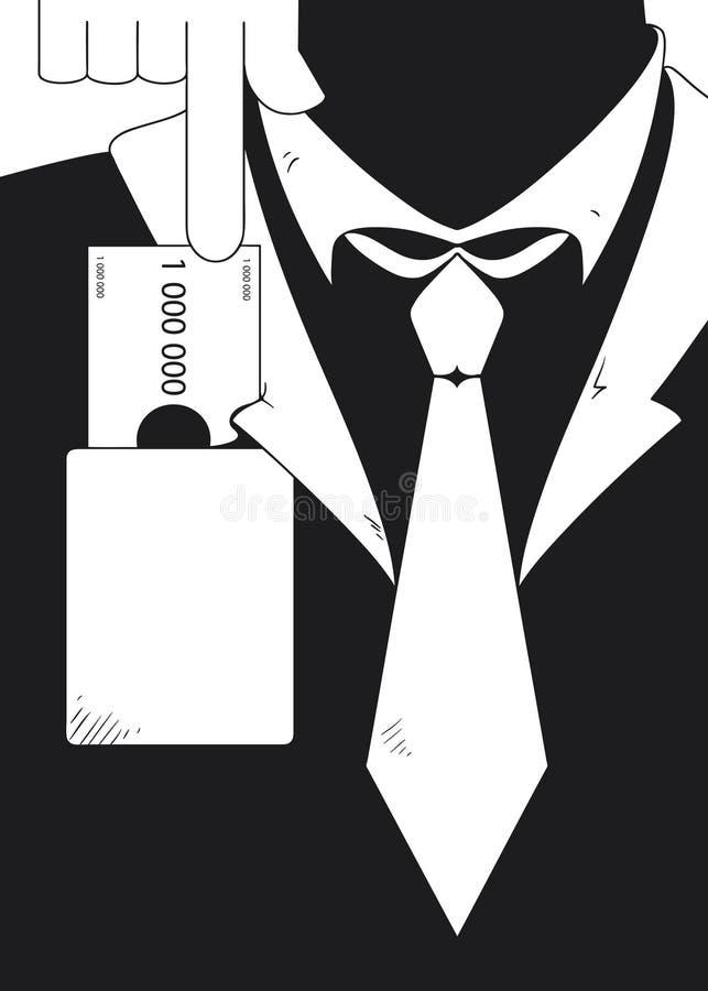 Uomo d'affari che è corrotto illustrazione di stock