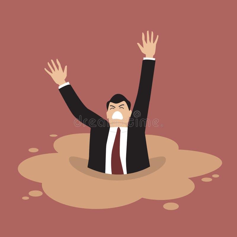Uomo d'affari che affonda in una pozza di sabbie mobili illustrazione di stock