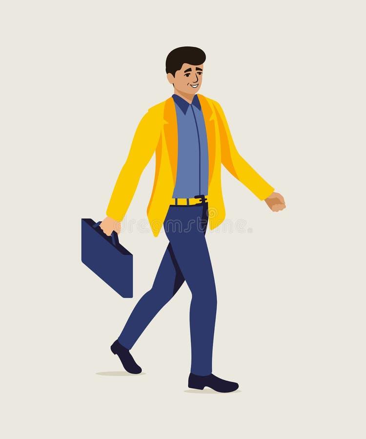 Uomo d'affari che affretta fino all'illustrazione dell'ufficio illustrazione vettoriale