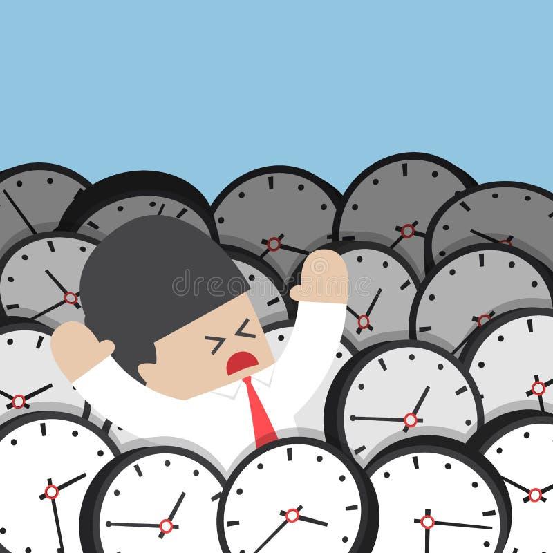 Uomo d'affari che annega in orologio illustrazione vettoriale