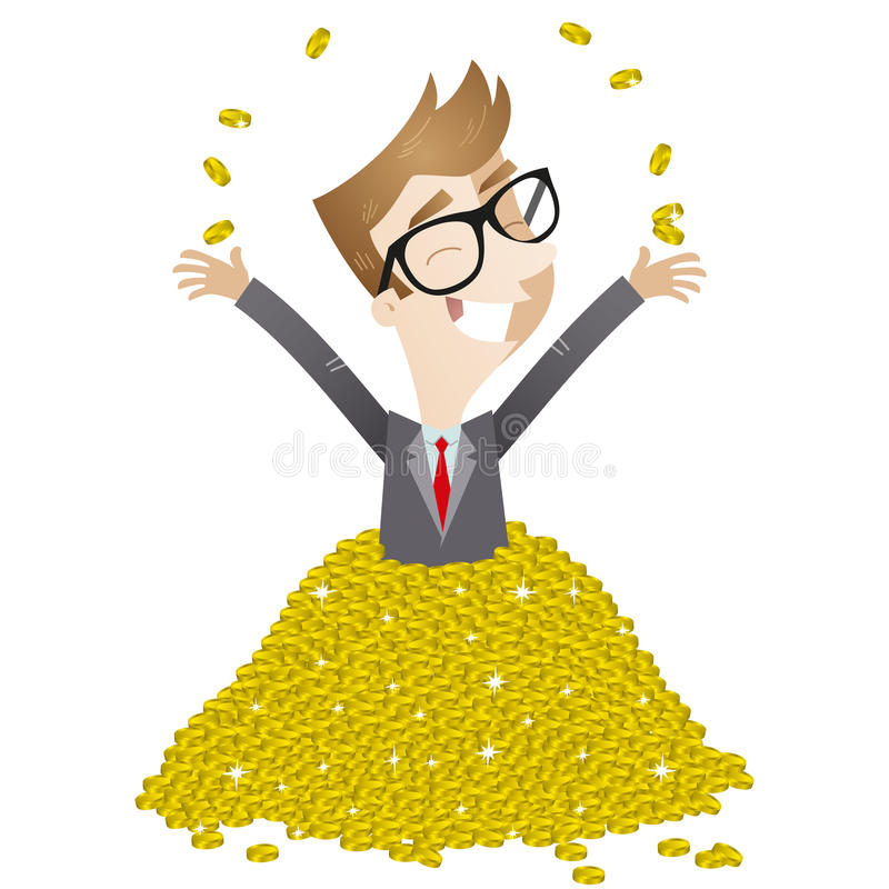 Uomo d'affari che bagna nelle monete illustrazione vettoriale
