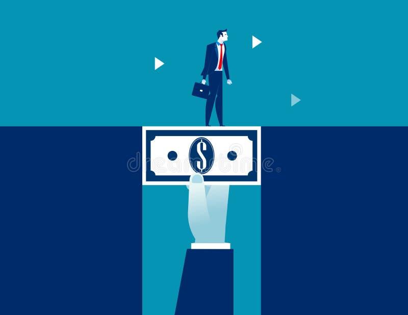 Uomo d'affari che cammina attraverso i soldi del dollaro che colmano la lacuna Illustrazione di vettore di affari di concetto illustrazione di stock